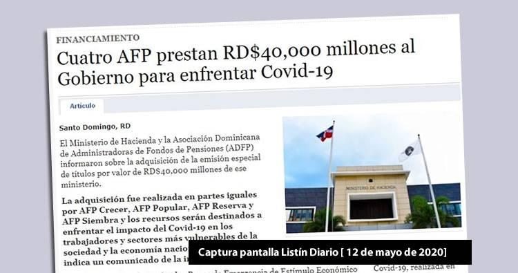 Cuatro AFP prestan RD$40,000 millones al Gobierno
