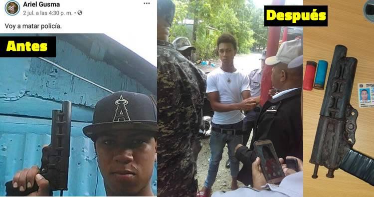 Apresan joven que subió foto con arma casera amenazando con matar policía