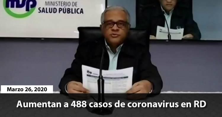 Aumentan a 488 casos de coronavirus en RD
