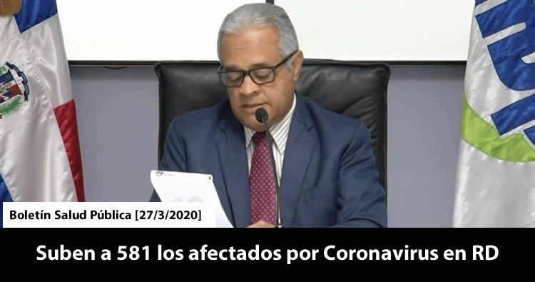 Aumentan a 581 los afectados por Covid-19 en República Dominicana