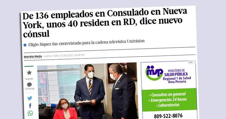 De 136 empleados en Consulado en Nueva York, unos 40 residen en RD, dice nuevo cónsul