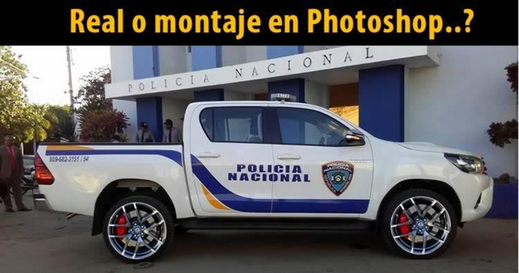 Camioneta de la policía con aros racing