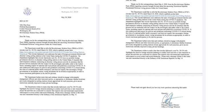 Departamento de Estado de EEUU informa al PRM que no se opone a elecciones en el exterior