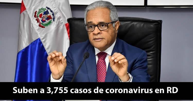 Suben a 3,755 casos de coronavirus en RD