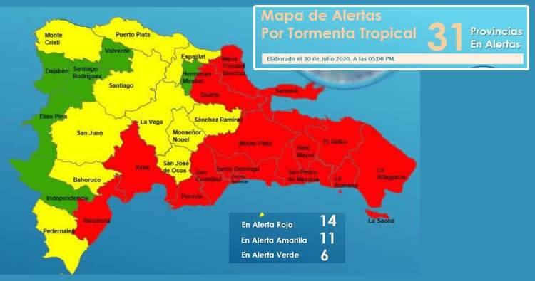 COE eleva a 14 provincias en alerta roja ante llegada de tormenta Isaías al país