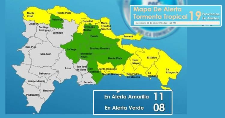 COE incrementa a 19 las provincias en alerta por Isaías