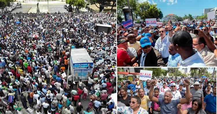 Luis Abinader concentra miles de personas frente al Congreso en rechazo a una reforma de la constitución