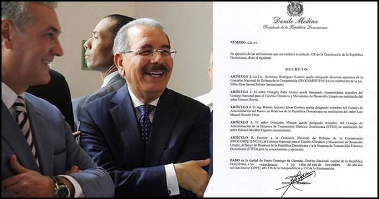 Danilo Medina emite decreto que cancela a varios leonelistas