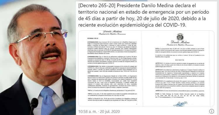 Danilo Medina decreta el estado de emergencia por 45 días por coronavirus