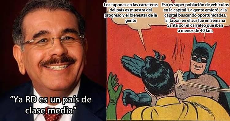 """Danilo Medina dice que """"Ya RD es un país de clase media por los tapones y porque la gente consume carne"""""""