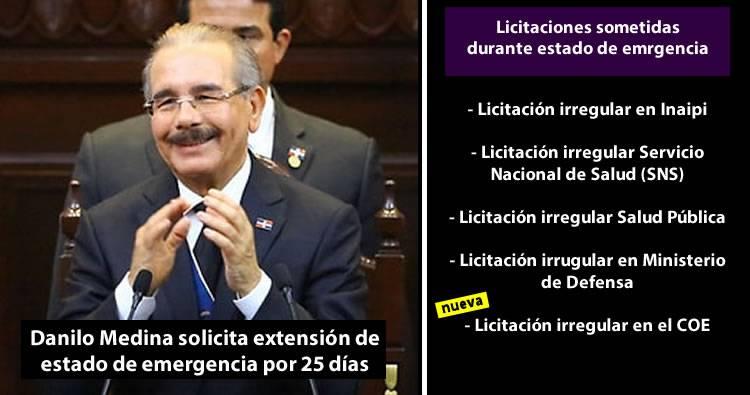 Danilo Medina solicita extensión de estado de emergencia por 25 días