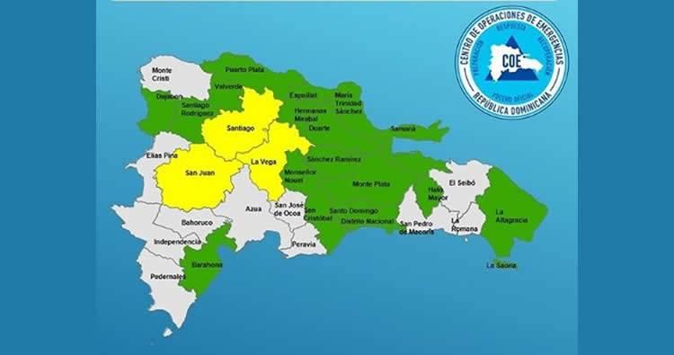 COE declara en estado de alerta 20 provincias por posibles inundaciones