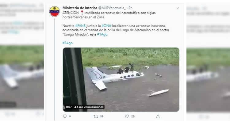 Capturan avioneta «que estaba desaparecida» en Venezuela; la usaban para transportar drogas