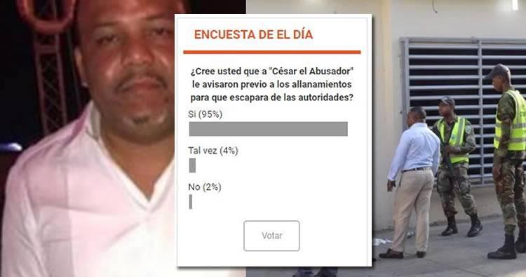 Encuesta revela 95% cree que a César 'El Abusador' le avisaron antes de los allanamientos