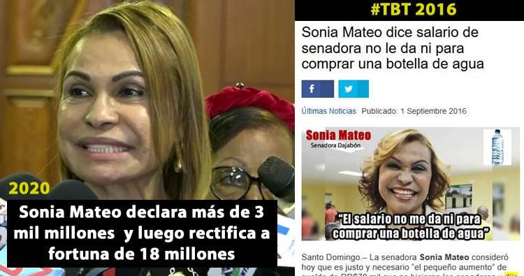 Sonia Mateo declara más de 3 mil millones  y luego rectifica a fortuna de 18 millones