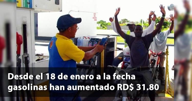Desde el 18 de enero a la fecha gasolinas han aumentado RD$ 31.80