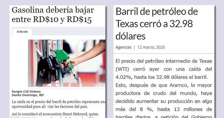 Gasolina debería bajar entre RD$10 y RD$15 según economista