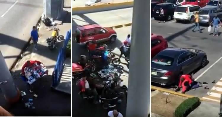 Video: dos hombres golpean a vendedor y desaprensivos se roban mercancía