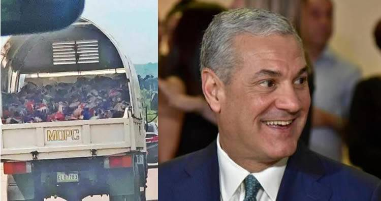 Video: Gonzalo Castillo dando 'funditas' del Plan Social en camión de Obras Públicas