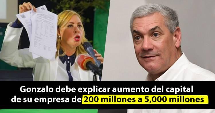 Sergia Elena emplaza a Gonzalo Castillo a explicar como capital de su empresa aumentó de 200 millones a 5,000 millones de pesos