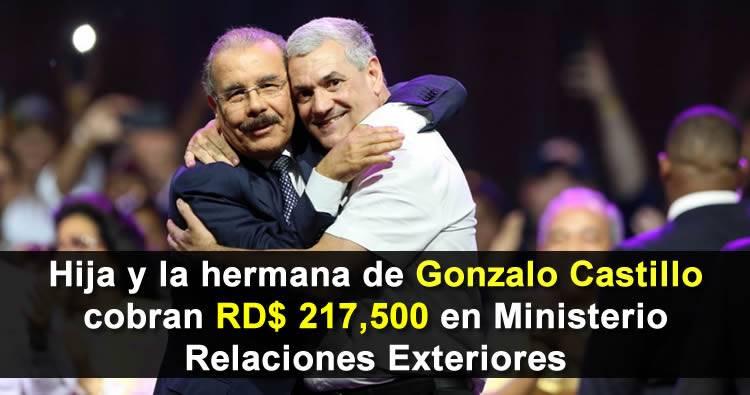 Hija y la hermana de Gonzalo Castillo cobran RD$217,500 pesos en Ministerio Relaciones Exteriores