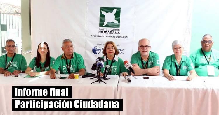 Informe final Participación Ciudadana: Violación a leyes, procuraduría sin recursos, gastos oscuros y compra de votos