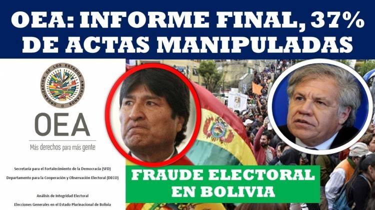 OEA afirma hubo falsificación y adulteraciones en elecciones de Bolivia