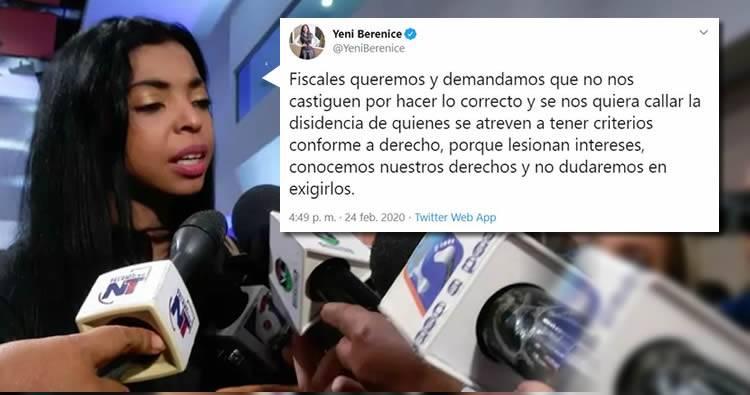 """Yeni Berenice critica que fiscales sean castigados por hacer """"lo correcto"""""""
