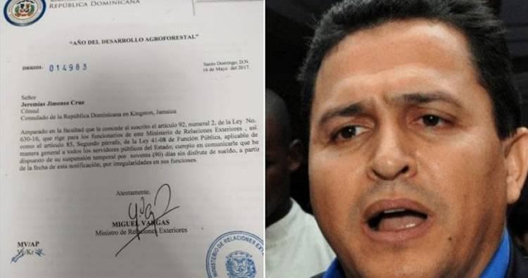 Excónsul Jiménez fue suspendido por Cancillería antes de su destitución en el 2017