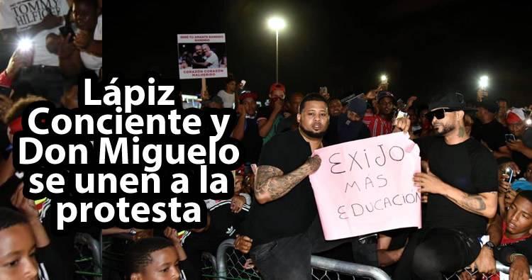 Video: Lápiz Conciente y Don Miguelo se unen a la protesta; lo reciben con aplausos y abucheos