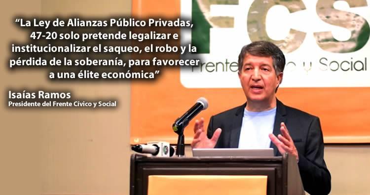 Frente Cívico afirma Ley 47-20 legaliza el saqueo, el robo y la pérdida de la soberanía