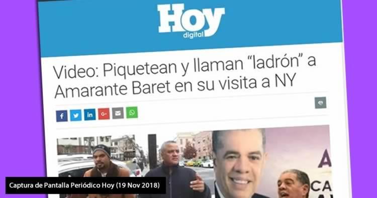 Llaman 'ladrón' a Amarante Baret en su visita a NY (Periódico Hoy)