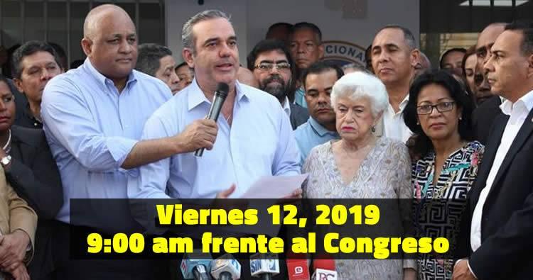 Luis Abinader convoca manifestación este viernes a las 9:00 am frente al Congreso