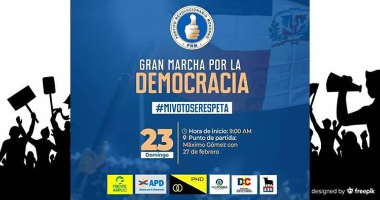 Marcha por la democracia nueva ruta: empezará en la Máximo Gómez con 27 de Febrero