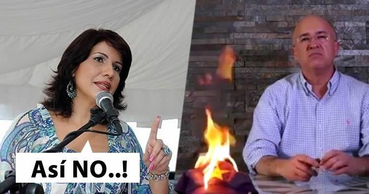 Margarita Cedeño reacciona al anuncio de Domínguez Brito quemando gorra del pld