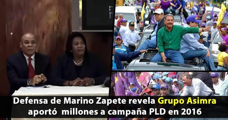Defensa de Marino Zapete revela Grupo Asimra aportó  millones a campaña PLD en 2016