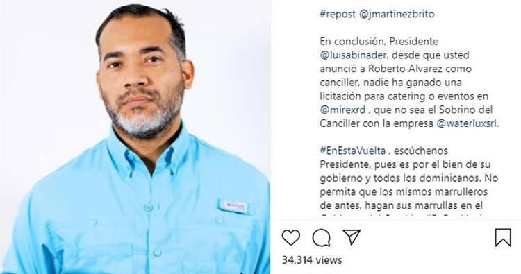 José Martínez Brito denuncia sobrino del Canciller es principal suplidor de Cancillería desde agosto