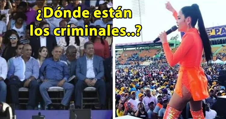 Natti Natasha pregunta dónde están los criminales? en acto de Leonel Fernández
