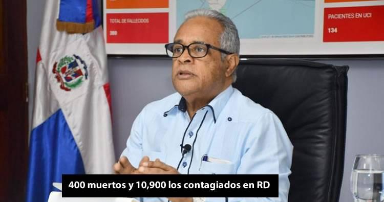400 muertos y 10,900 los contagiados en RD
