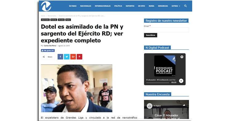 En allanamiento encuentran carnets de Octavio Dotel como Sargento del Ejercito y asimilado de la PN
