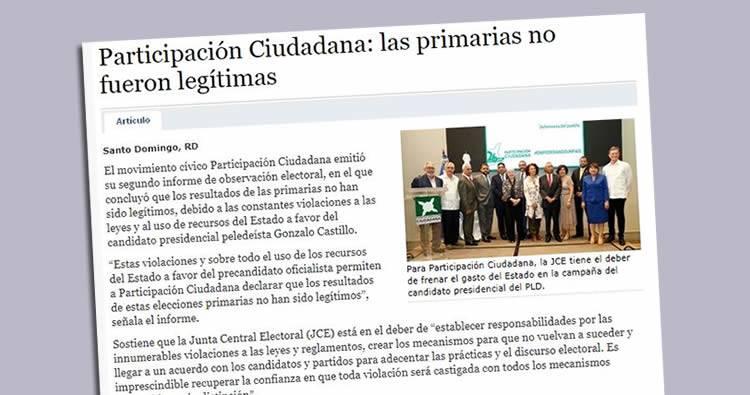 Participación Ciudadana: 'las primarias no fueron legítimas'