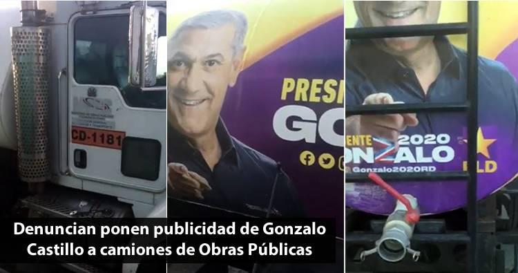 Video: Denuncian ponen publicidad de Gonzalo Castillo a camiones de Obras Públicas