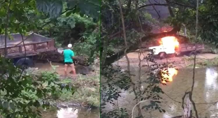 Video: Comunidad de La Vega quema camión que sacaba arena de río Camú
