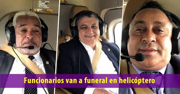 Funcionarios peledeístas que van funeral en helicóptero