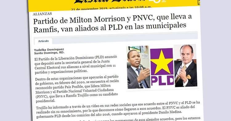 Partido que lleva Ramfis Trujillo, va aliado al PLD en las municipales