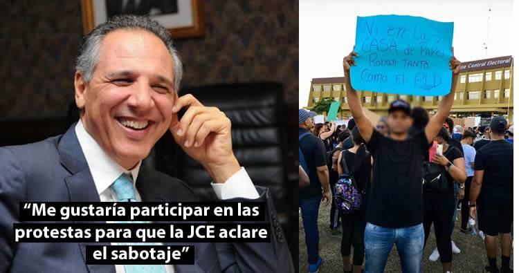 José Ramón Peralta dice a él también le gustaría participar en protestas para que JCE aclare sabotaje