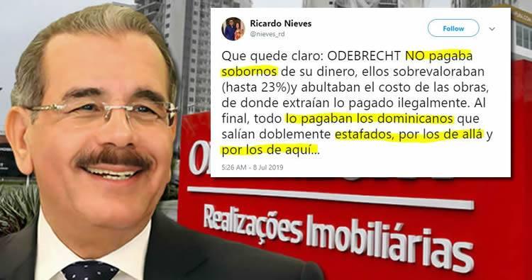 Ricardo Nieves: 'Odebrecht no pagaba sobornos con su dinero, lo pagaban dominicanos estafados por los de aquí y por los de allá'