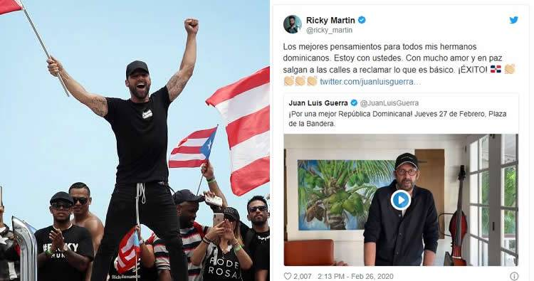 Ricky Martin a los dominicanos: 'Salgan a las calles a reclamar'