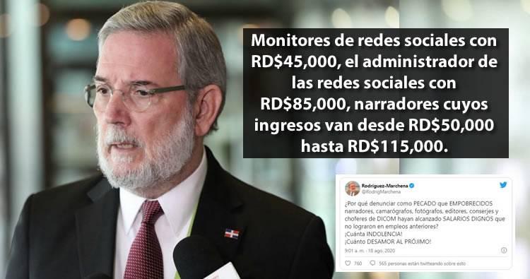 Rodríguez Marchena defiende altos salarios del DICOM; su chofer ganaba RD$75,000