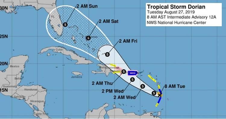 Onamet emite alerta de tormenta tropical y de huracán ante el paso de Dorian